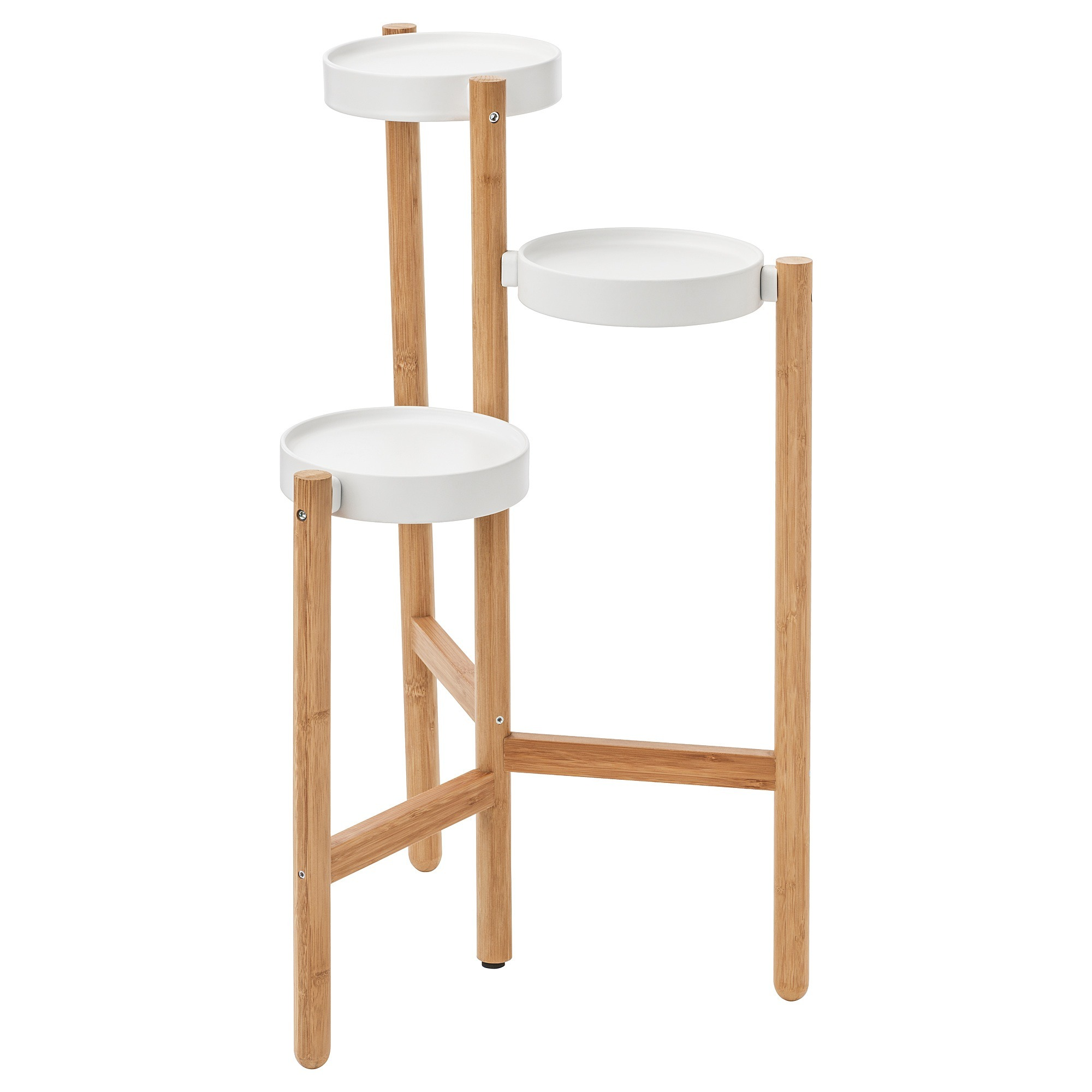 Satsumas Plant Stand 3 Plant Pots Bamboo White Conner Furniture House