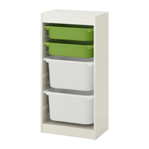 TROFAST Storage Combination Regular with Mid and Low Boxes (White, Green)