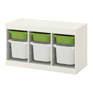 TROFAST Storage Combination Low with Mid and Low Boxes (White, Green)