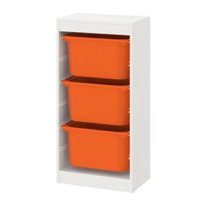 TROFAST Storage Combination with Mid Boxes (White, Orange)