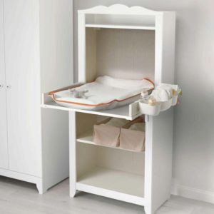 HENSVIK Changing Cabinet with Skotsam Babycare Mat and Mat Cover (White)