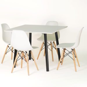 CFH HEMING Table, 100cm Square (White) with 4 CHARLES Chair, Wood Legs (White)