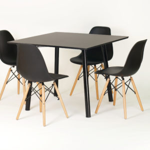 CFH HEMING Table, 100cm Square (Black) with 4 CHARLES Chair, Wood Legs (Black)