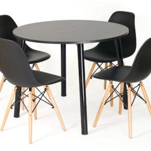 CFH HEMING Table, 100cm Round (Black) with 4 CHARLES Chair, Wood Legs (Black)
