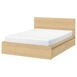 MALM Bed frame, High, with 2 Storage Boxes King Size (White Stained Oak Veneer)