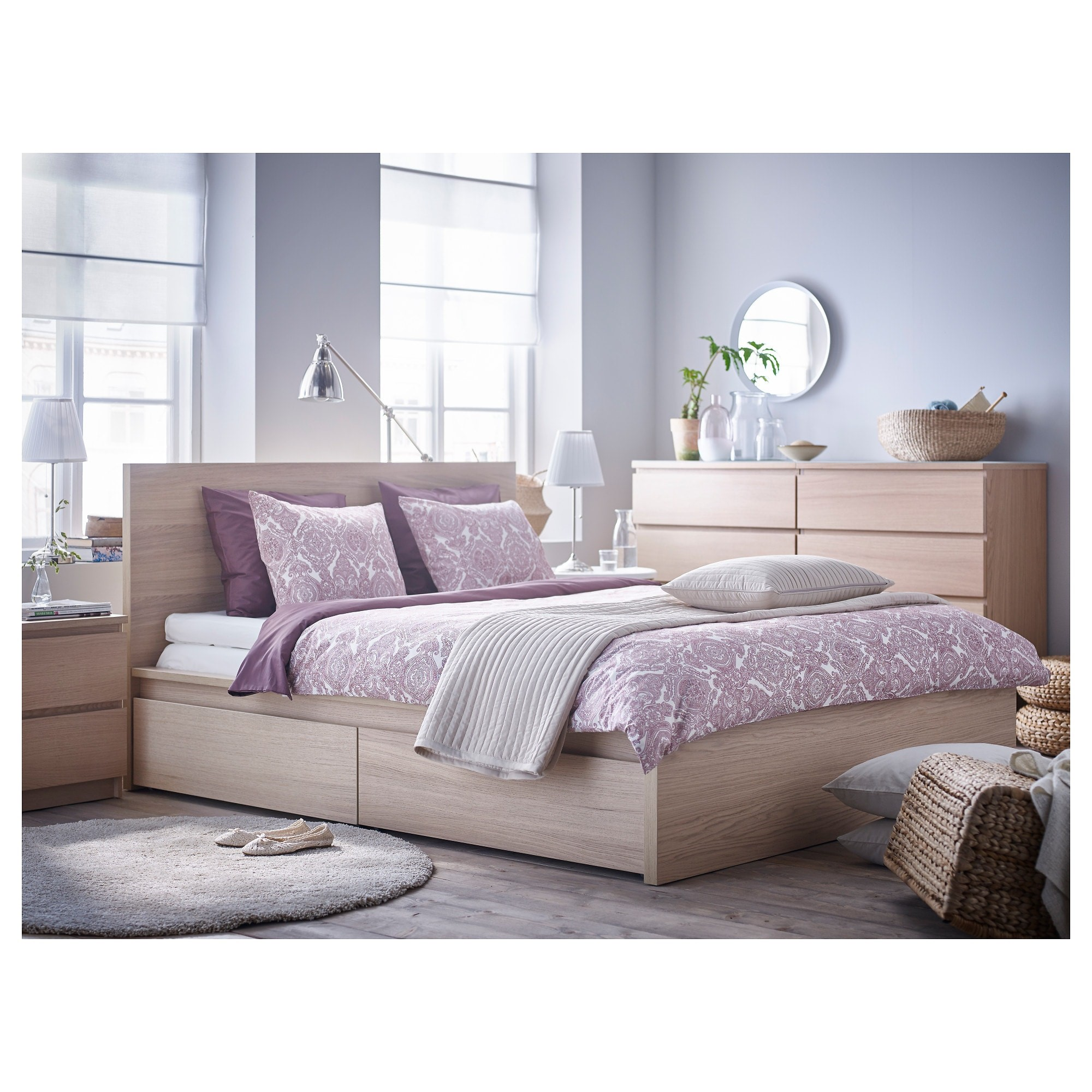 Malm Bed Frame High Luroy With 2 Storage Boxes King Size White Stained Oak Veneer Conner Furniture House