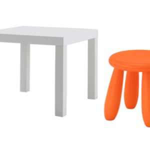 LACK Side Table with Mammut Children's Stool (White, Orange)