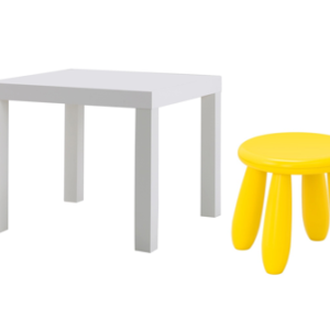 LACK Side Table with Mammut Children's Stool (White, Yellow)
