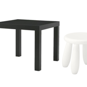 LACK Side Table with Mammut Children's Stool (Black, White)