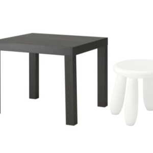 LACK Side Table with Mammut Children's Stool (Black Brown, White)