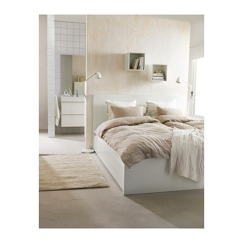 Malm Bed Frame High With 2 Storage Boxes Luroy Queen Size White Conner Furniture House