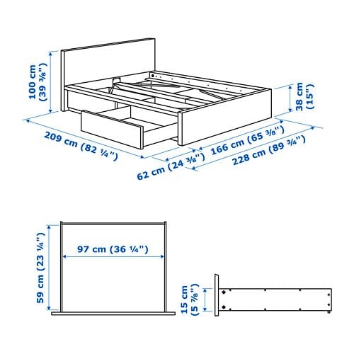 Malm Bed Frame High With 2 Storage, What Are The Dimensions For A Queen Size Bed Frame