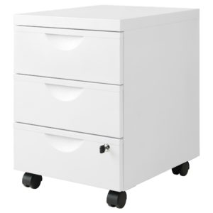 ERIK Drawer Unit with 3 Drawers on Castors (White)