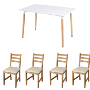 HEMING Table 120x80cm with 4 Pcs Lerhamn Chairs (White, Light Antique Stain and Vittaryd Beige)