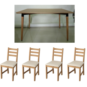 HEMING Table 120x80cm with 4 Pcs Lerhamn Chairs (Natural, Light Antique Stain and Vittaryd Beige)