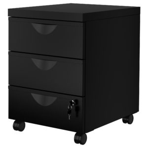 ERIK Drawer Unit with 3 Drawers on Castors (Black)