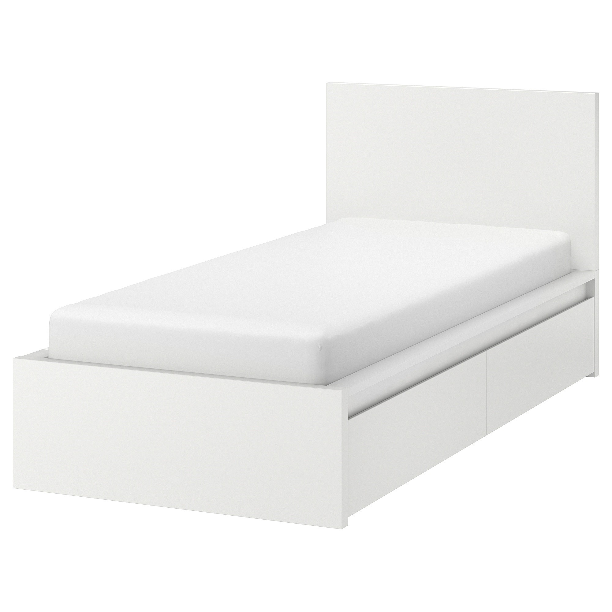 Malm Bed Frame High With 2 Storage Boxes Luroy Single Size White Conner Furniture House