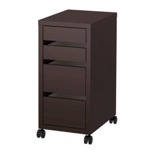 MICKE Drawer Unit on Castors (Black Brown)