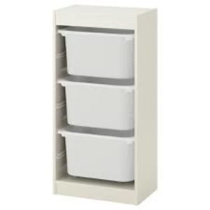 TROFAST Storage Combination Regular with Mid Boxes (White)