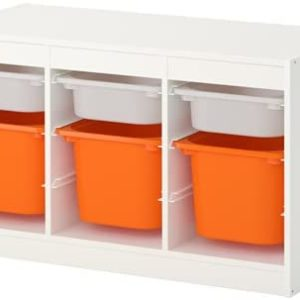 TROFAST Storage Combination Low with Mid and Low Boxes (White, Orange)