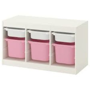 TROFAST Storage Combination Low with Mid and Low Boxes (White, Pink)