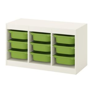 TROFAST Storage Combination Low with Low Boxes (White, Green)