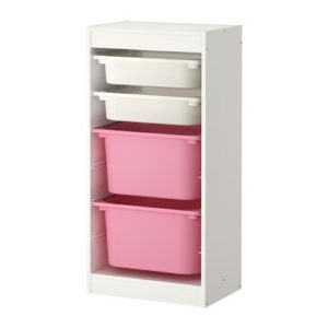 TROFAST Storage Combination Regular with Mid and Low Boxes (White, Pink)