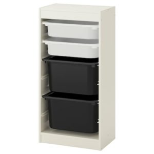 TROFAST Storage Combination Regular with Mid and Low Boxes (White, Black)