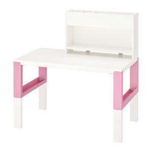 PAHL Desk with Add-On Unit (White/Pink)