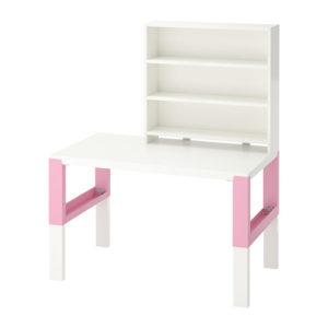PAHL Desk with Shelf Unit (White/Pink)