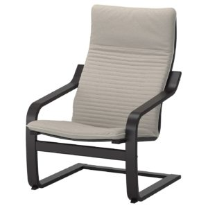 POANG Armchair with Cushion (Black Brown / Knisa Light Beige)