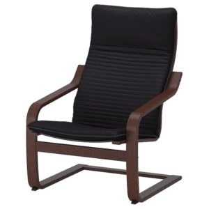 POANG Armchair with Cushion (Brown / Knisa Black)