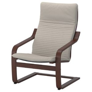 POANG Armchair with Cushion (Brown / Knisa Light Beige)