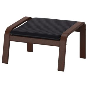 POANG Footstool with Cushion (Brown / Knisa Black)