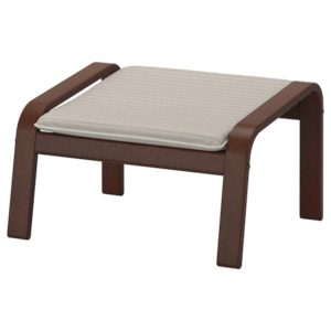 POANG Footstool with Cushion (Brown / Knisa Light Beige)