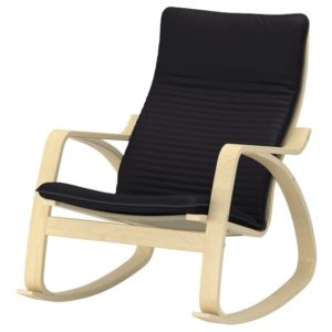 POANG Rocking Chair with Cushion (Birch Veneer / Knisa Black)