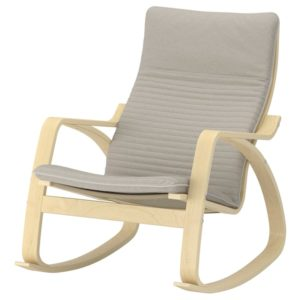 POANG Rocking Chair with Cushion (Birch Veneer / Knisa Light Beige)