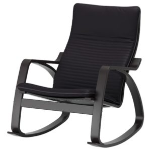 POANG Rocking Chair with Cushion (Black Brown / Knisa Black