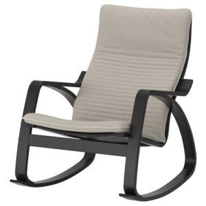 POANG Rocking Chair with Cushion (Black Brown / Knisa Light Beige)