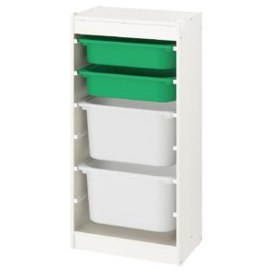 TROFAST Storage Combination Regular with Mid and Low Boxes (Green, White)