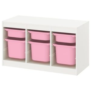 TROFAST Storage Combination Low with Mid and Low Boxes (Pink, White)