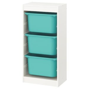 TROFAST Storage Combination Regular with Mid Boxes (White, Turquoise)